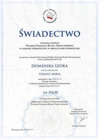 Szoka - Agencja nieruchomości - Białystok - Świadectwo nadania licencji